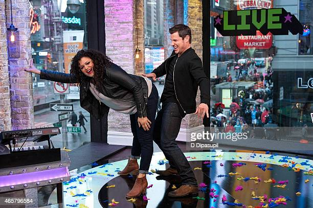 Nick Lachey and Michelle Buteau attend the 2015 MTV Break the Record Week - Dance-A-Thon in Times Square on March 10, 2015 in New York City.