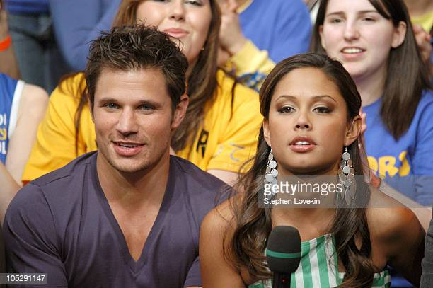 "Nick Lachey and MTV VJ Vanessa Minnillo during Nick Lachey and Anne Hathaway Visit MTV's ""TRL High School Week"" at MTV Studios, Times Square in New..."