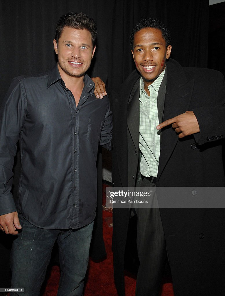 Nick Lachey and Nick Cannon during 2007 GM Style - Backstage at GM Pavilion in Detroit, Michigan, United States.