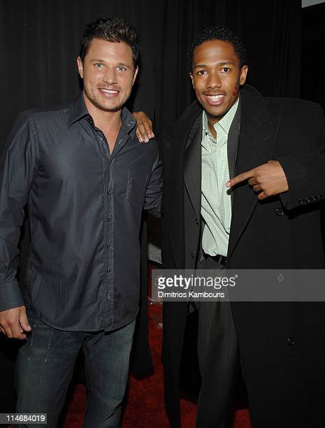 Nick Lachey and Nick Cannon during 2007 GM Style Backstage at GM Pavilion in Detroit Michigan United States
