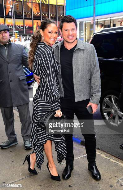 Nick Lachey and Vanessa Lachey are seen outside good morning amreica on February 4 2020 in New York City