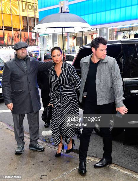 Nick Lachey and Vanessa Lachey are seen outside good morning amreica on February 4, 2020 in New York City.