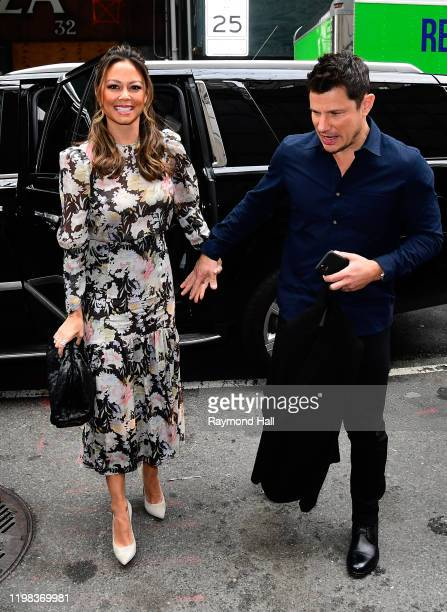 Nick Lachey and Vanessa Lachey are seen outside the today show on February 3 2020 in New York City