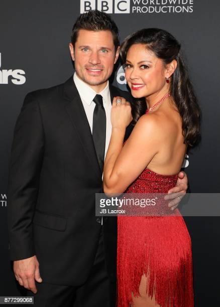 Nick Lachey and Vanessa Lachey attend the 'Dancing With The Stars' Season 25 Finale on November 21 2017 in Los Angeles California