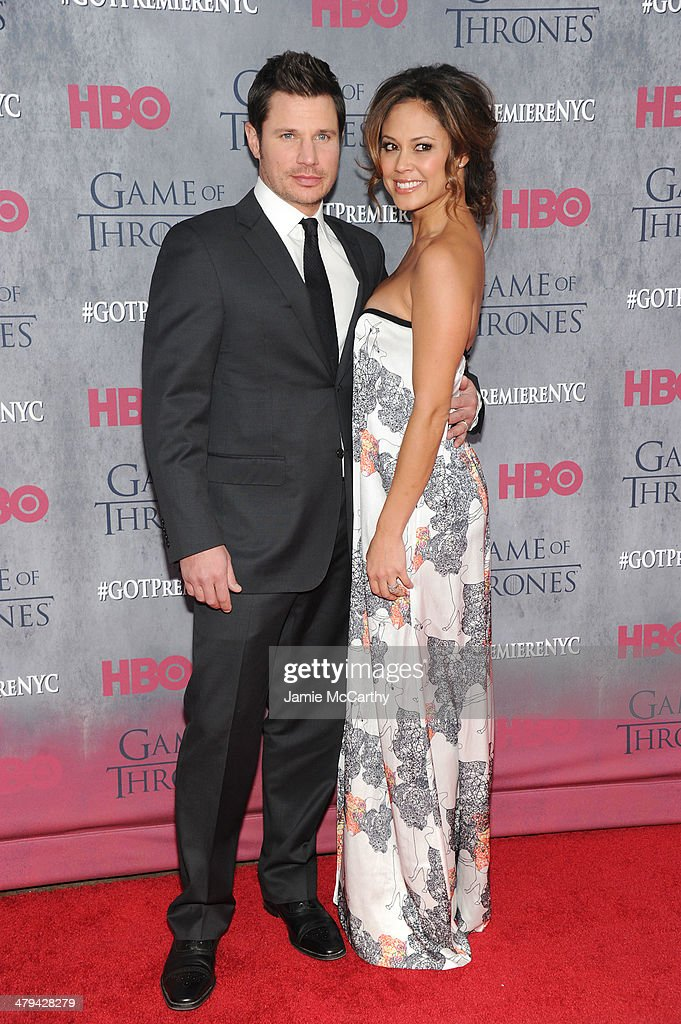 Nick Lachey and Vanessa Lachey attend the 'Game Of Thrones' Season 4 New York premiere at Avery Fisher Hall, Lincoln Center on March 18, 2014 in New York City.
