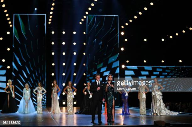 Nick Lachey and Vanessa Lachey host the 2018 Miss USA Competition at George's Pond at Hirsch Coliseum on May 21 2018 in Shreveport Louisiana