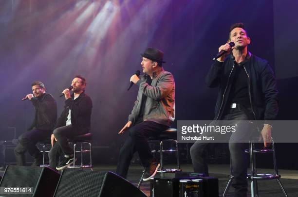 Nick Lachey Drew Lachey Jeff Timmons and Justin Jeffre of 98 Degrees performs at 1035 KTU's KTUphoria on June 16 2018 in Wantagh City