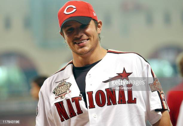 Nick Lachey in action during the Legends and Celebrities softball game at Minute Maid Park in Houston, Texas July 11, 2004
