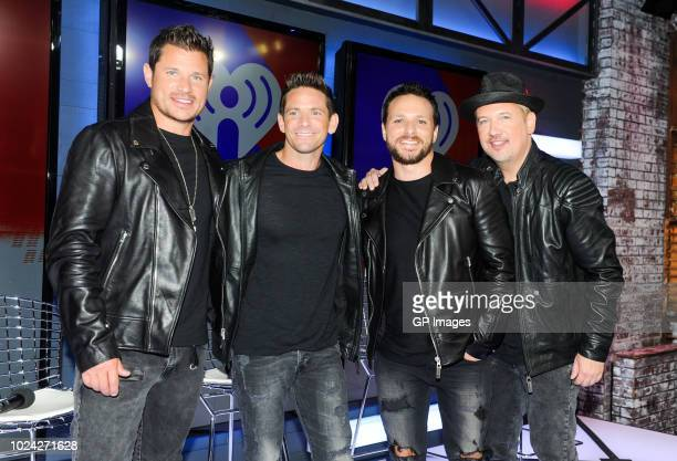 Nick Lachey Jeff Timmons Drew Lachey and Justin Jeffre at the 2018 iHeartRADIO MuchMusic Video Awards at MuchMusic HQ Press Room on August 26 2018 in...