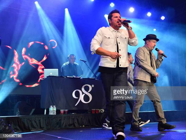 Nick Lachey, Justin Jeffre and Drew Lachey of 98 Degrees perform on stage at Seminole Casino Coconut Creek on February 28, 2020 in Coconut Creek,...