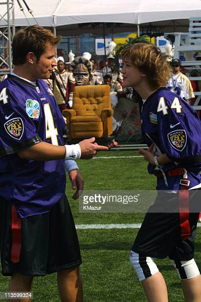 NIck Lachey of 98 Degrees Colleen Haskell during Super Bowl XXXV MTV Rock 'N Jock at Raymond James Stadium in Tampa Florida United States