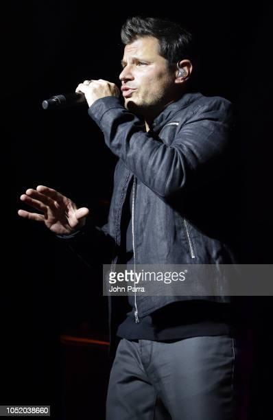 Nick Lachey of 98 Degrees performs at Fountainbleau Miami Beach on October 12 2018 in Miami Beach Florida