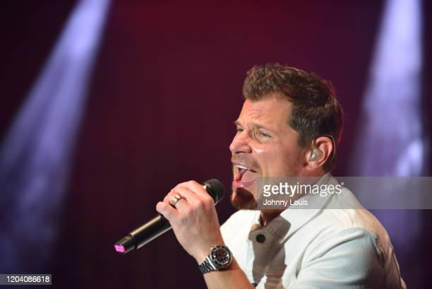 Nick Lachey of 98 Degrees performs on stage at Seminole Casino Coconut Creek on February 28, 2020 in Coconut Creek, Florida.