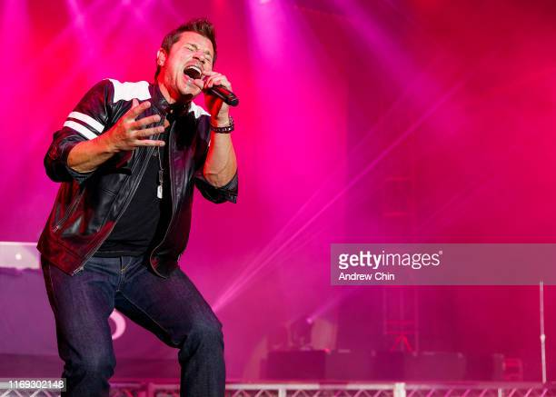 Nick Lachey of 98 Degrees performs on stage during Summer Night Concerts at PNE Amphitheatre on August 20 2019 in Vancouver Canada
