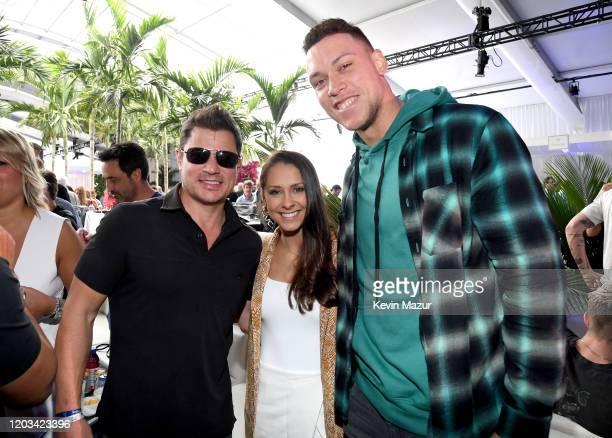 Nick Lachey Samantha Bracksieck and Aaron Judge attend Michael Rubin's Fanatics Super Bowl Party at Loews Miami Beach Hotel on February 01 2020 in...