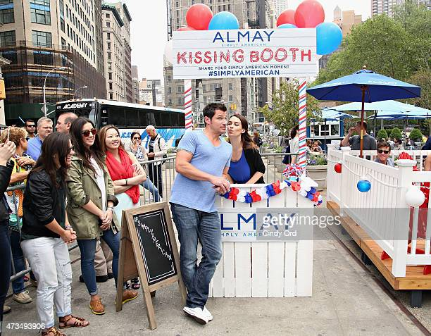 Nick Lachey shows his American spirit at the Almay kissing booth during the Almay Simply American Experience on May 15 2015 in New York City