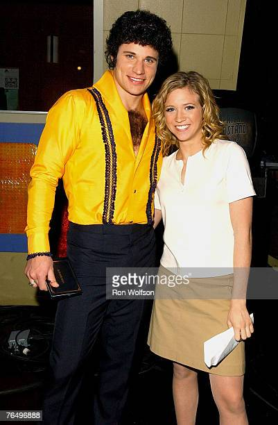 Nick Lachey who portrays Tom Jones on an upcoming episode of American Dreams chats with American Dreams cast member Brittany Snow who plays Meg Pryor...