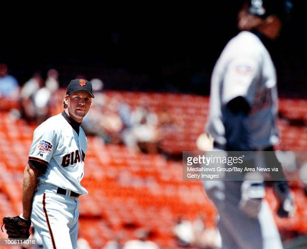 Nick Lammers 6/24/97 Tribune Sports#13#13Giants pitcher Shawn Estes glares and has words with Steve Finley after hitting him with a pitch in the...