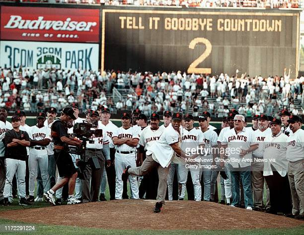 """Nick Lammers staff 9/30/99 Tribune SportsGiants great Willie Mays throws out the """"final pitch"""" at Candlestick Park Thursday afternoon, as the..."""