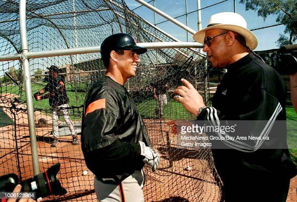 Nick Lammers/staff 3/3/99 Tribune Sports#13After making the Baseball Hall of Fame former Giant Orlando Cepeda talks with Giants player Stan Javier...