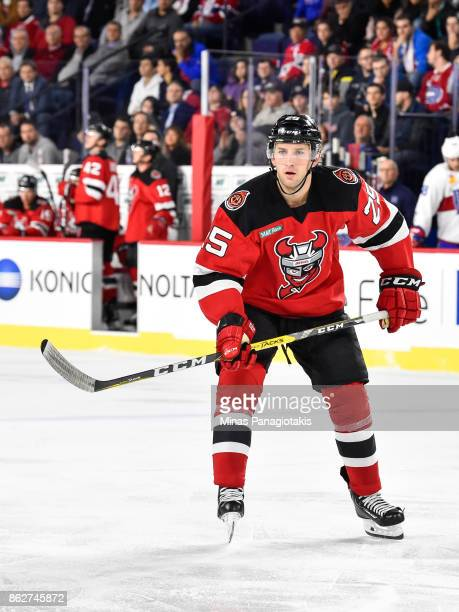 Nick Lappin of the Binghamton Devils skates against the Laval Rocket during the AHL game at Place Bell on October 13 2017 in Laval Quebec Canada The...