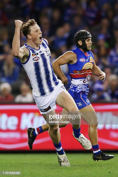 Nick Larkey of the Kangaroos celebrates a goal during the round 10 AFL match between the Western Bulldogs and the North Melbourne Kangaroos at Marvel...