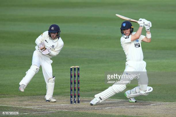 Nick Larkin of NSW bats during day two of the Sheffield Shield match between New South Wales and Victoria at North Sydney Oval on November 25 2017 in...