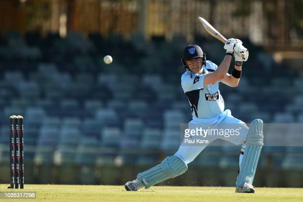 Daniel Hughes of NSW bats during the JLT One Day Cup match between Western Australia and New South Wales at the WACA on September 18 2018 in Perth...