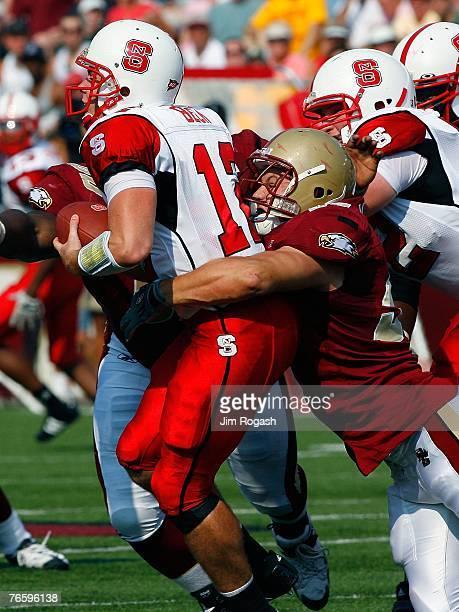 Nick Larkin of the Boston College Eagles sacks Harrison Beck of the North Carolina Wolfpack at Alumni Stadium September 8, 2007 in Chestnut Hill,...
