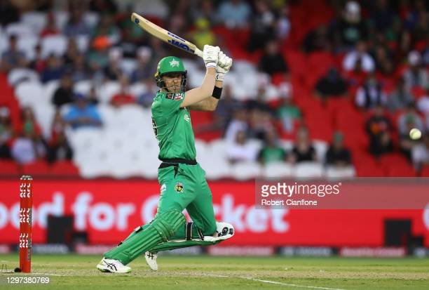 Nick Larkin of the Stars bats during the Big Bash League match between the Melbourne Renegades and the Melbourne Stars at Marvel Stadium, on January...