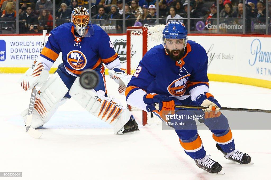 best website 881fb 90c17 Nick Leddy and Jaroslav Halak of the New York Islanders ...