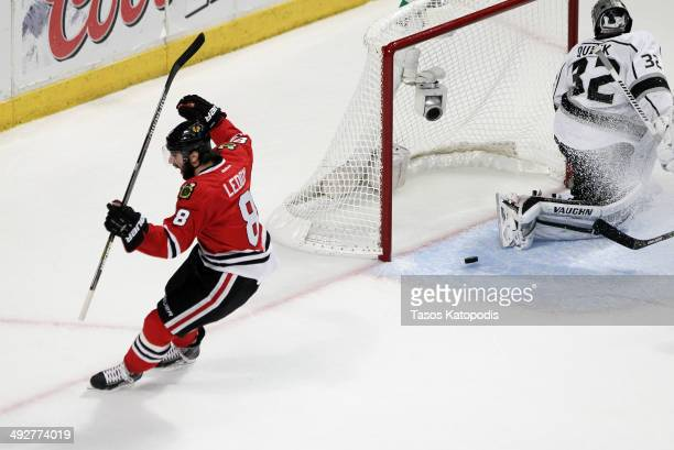 Nick Leddy of the Chicago Blackhawks celebrates his goal against Jonathan Quick of the Los Angeles Kings in the first period in Game Two of the...