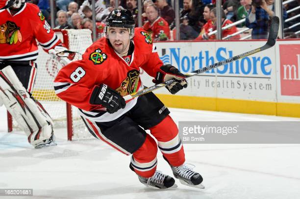 Nick Leddy of the Chicago Blackhawks skates against the Calgary Flames on March 26 2013 at the United Center in Chicago Illinois