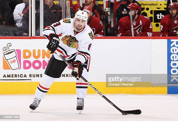 Nick Leddy of the Chicago Blackhawks skates with the puck in Game Five of the Western Conference Quarterfinals against the Phoenix Coyotes during the...