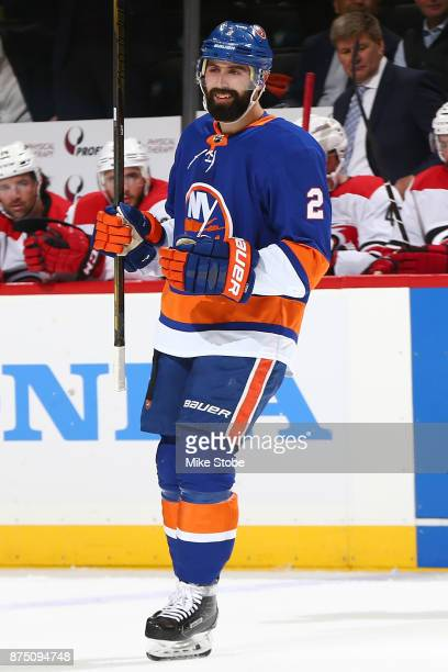 Nick Leddy of the New York Islanders celebrates his first period goal against the Carolina Hurricanes at Barclays Center on November 16 2017 in New...