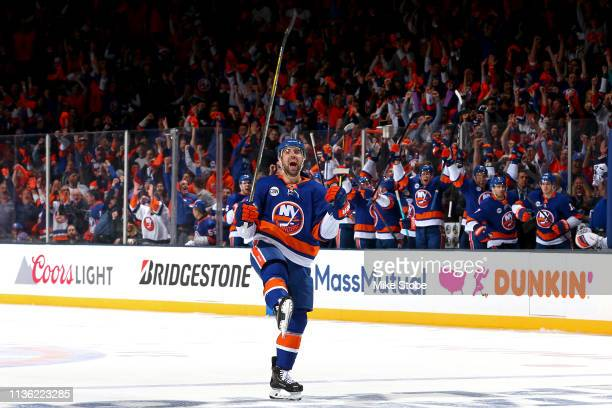 Nick Leddy of the New York Islanders celebrates his third period goal against the Pittsburgh Penguins in Game One of the Eastern Conference First...