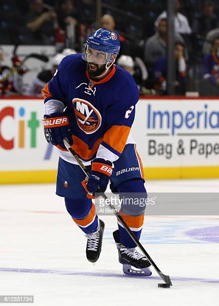 Nick Leddy of the New York Islanders in action against the New Jersey Devils during their pre season game at Barclays Center on October 3 2016 in New...