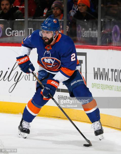 Nick Leddy of the New York Islanders looks to pass in an NHL hockey game against the Edmonton Oilers at Barclays Center on November 7 2017 in the...
