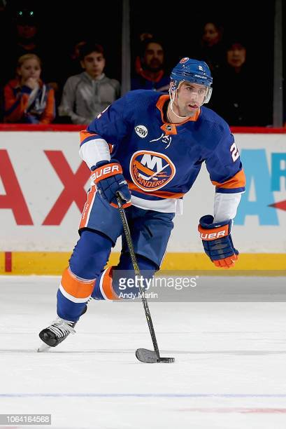 Nick Leddy of the New York Islanders plays the puck during the game against the New Jersey Devils at Barclays Center on November 3 2018 in the...