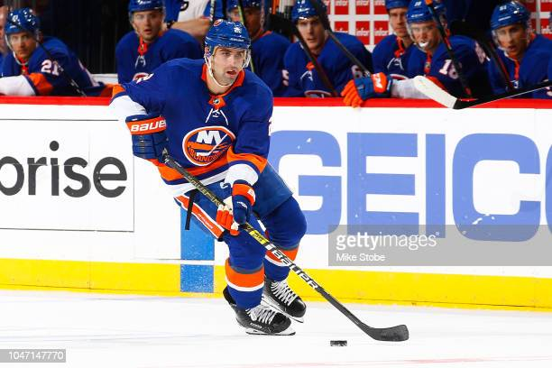 Nick Leddy of the New York Islanders skates against the against the Nashville Predators at Barclays Center on October 6 2018 the Brooklyn borough of...