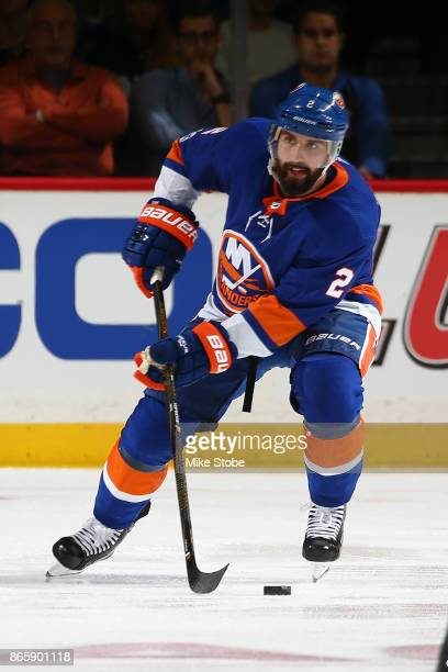 Nick Leddy of the New York Islanders skates against the Buffalo Sabres at Barclays Center on October 7 2017 in New York City New York Islanders...