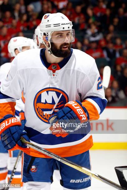 Nick Leddy of the New York Islanders skates against the Calgary Flames during an NHL game on March 11 2018 at the Scotiabank Saddledome in Calgary...
