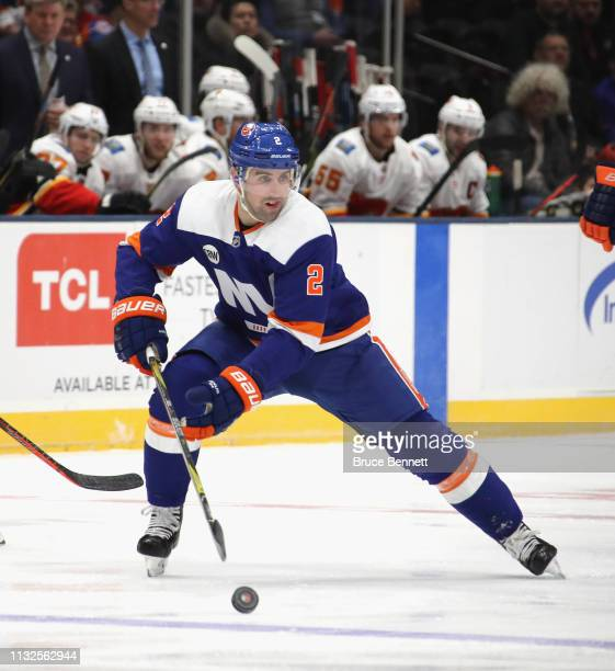 Nick Leddy of the New York Islanders skates against the Calgary Flames at NYCB Live's Nassau Coliseum on February 26 2019 in Uniondale New York The...
