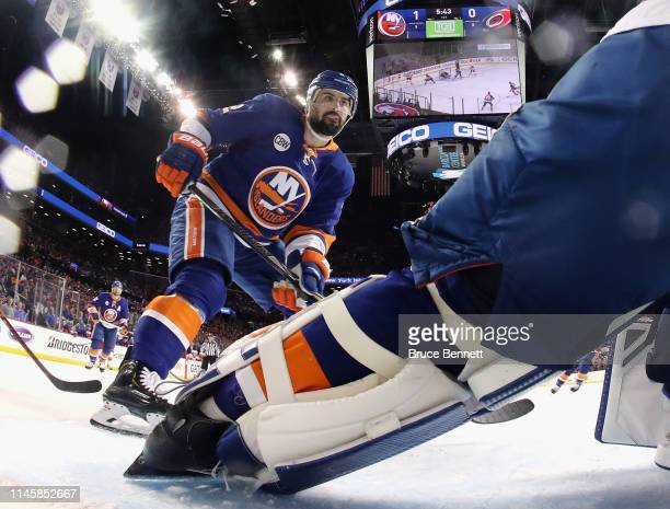 Nick Leddy of the New York Islanders skates against the Carolina Hurricanes in Game Two of the Eastern Conference Second Round during the 2019 NHL...
