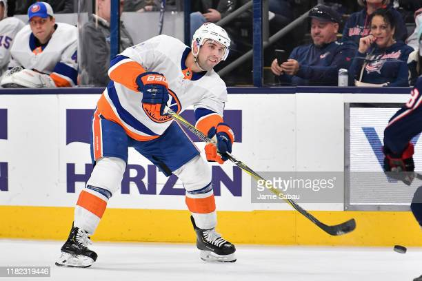 Nick Leddy of the New York Islanders skates against the Columbus Blue Jackets on October 19 2019 at Nationwide Arena in Columbus Ohio