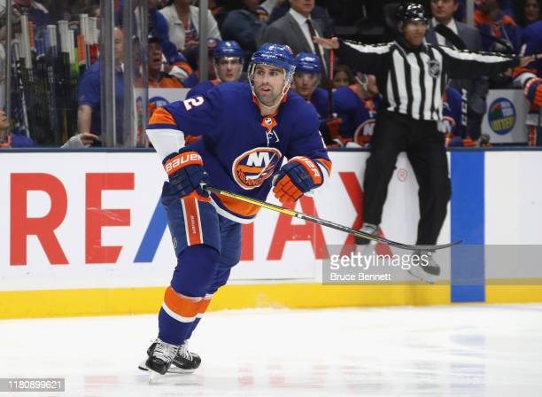 Nick Leddy of the New York Islanders skates against the Florida Panthers at NYCB Live's Nassau Coliseum on October 12 2019 in Uniondale New York
