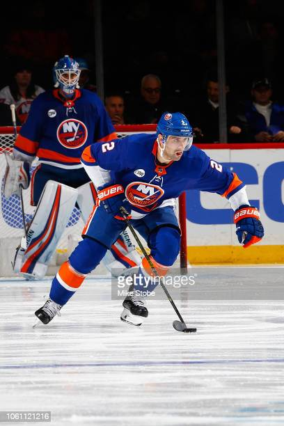 Nick Leddy of the New York Islanders skates against the Montreal Canadiens at Barclays Center on November 5 2018 the Brooklyn borough of New York...