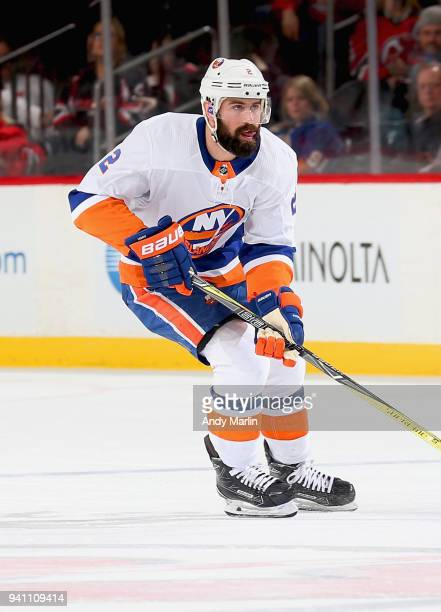 Nick Leddy of the New York Islanders skates against the New Jersey Devils during the game at Prudential Center on March 31 2018 in Newark New Jersey