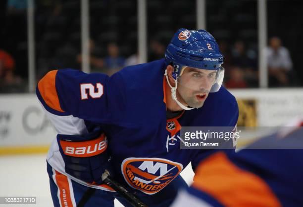 Nick Leddy of the New York Islanders skates against the Philadelphia Flyers during a preseason game at the Nassau Veterans Memorial Coliseum on...