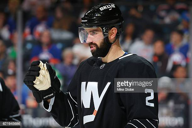 Nick Leddy of the New York Islanders skates against the Philadelphia Flyers at the Barclays Center on November 3 2016 in Brooklyn borough of New York...